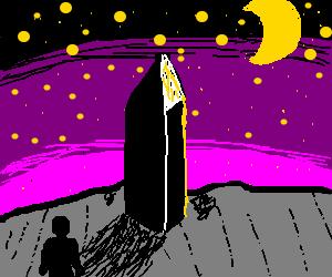 man contemplates the monolith under a purple sky