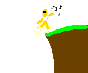 Yellow Power Ranger breakdances off of cliff
