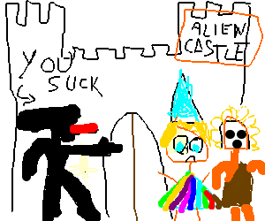 Alien castle guard insults gay wizard and native