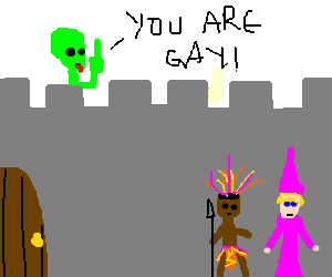 Alien taunts gay warlock and tribal warrior