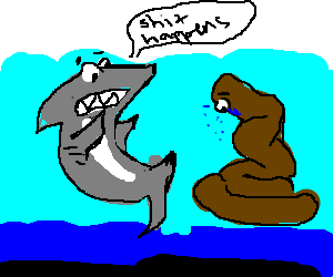 shark telling poop they broke up a month ago