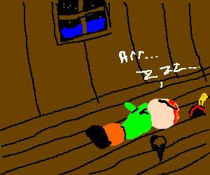Wally from Monkey Island sleeping on the floor