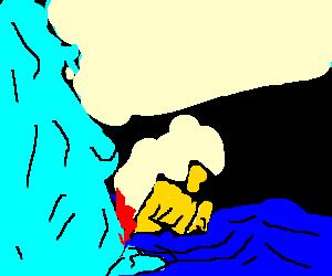 Dradle sinks after hitting iceberg