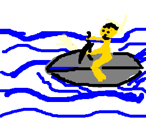 Golden man jetskis through the ocean
