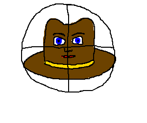 Cowboy hat has human face, centered in crosshair