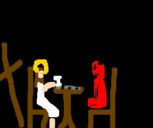 Jesus and Satan play chess