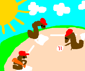 Worms playing baseball in the sun