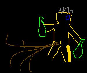 a naked fart-propelled old drunkard drooling