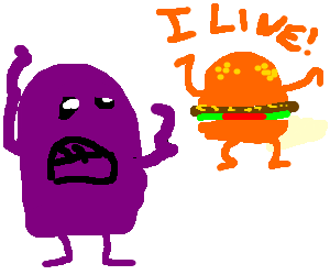 grimace looking at sentient McDonald Burgers