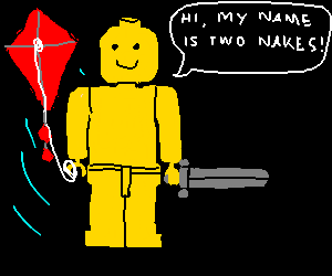 Two Nakes LEGO Minifigs play with swords & kite