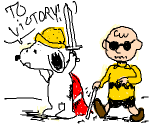 Paladin Snoopy leads blind Charlie to victory!