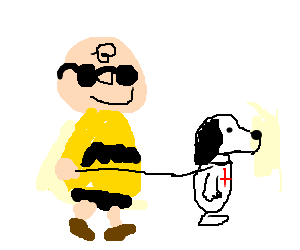 Snoopy guides Charlie Brown as a blind guide dog