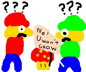 Mario and Luigi don't understand shroom protest.