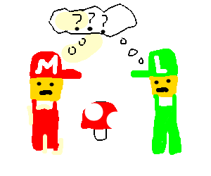 Mario and Luigi are confused with mushroom