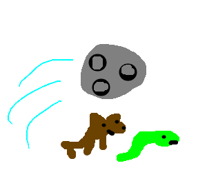 The moon leaped over the dog and snake.