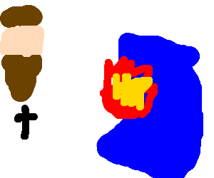 Jesus casts fire spell on blue blanket