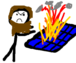 Angry bearded man sets solar panel on fire.