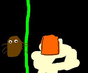 bug with green pole is orange juice