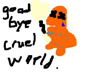 Charmander sadly putting out his tail-fire