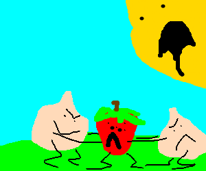 Twin onion kids rip apart a strawberry