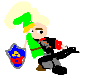 TF2's Heavy fused with Link from Zelda
