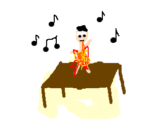 Man on fire dances on table