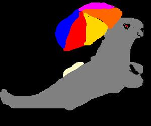 seal with umbrella