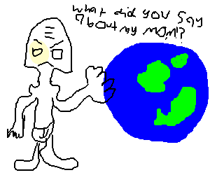 Giant angry drunk fights the world