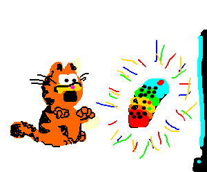 Garfield is scared of colorful remote control