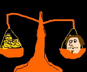 Balance is balancing Sheakspere's head