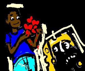 Spongebob wary of black man handing out hearts