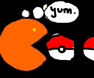 Pacman eating pokeballs