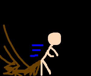 guanaria-man is shuffling away in a hurry