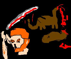 Man slays giant brown dinasaur with manly sword