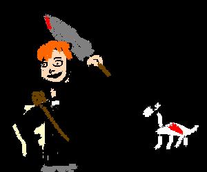 Conan O'Brien the Barbarian slays alpaca