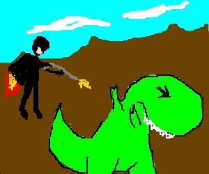 A man on a jetpack fires at a T-rex