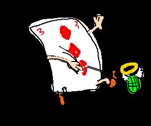 Three of diamonds uses holy hand grenade