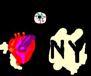 Bloodshot eye and heart - disembodied