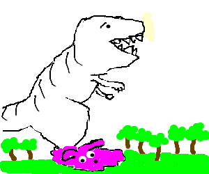 Giant white t-rex in pink slippers in a forest