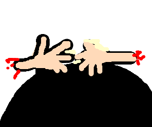 two severed hands atop a black circle