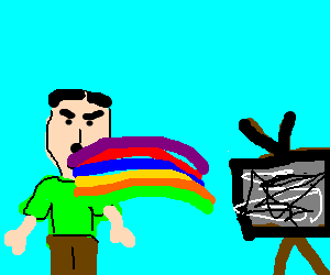 Hitler vomits a rainbow while watching TV static