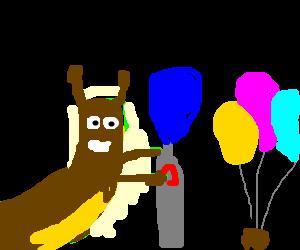 Slug inflates balloons