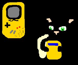 black cat playing original gameboy