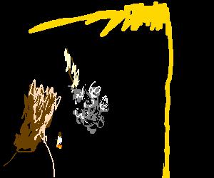 Moth junkie cough smoking.