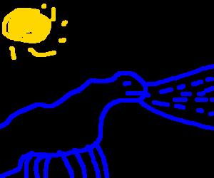 Blue Allosaurus shoots water beam