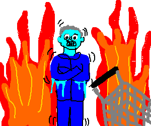 Cold man in Hell with a shopping cart
