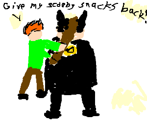 Shaggy hitting Batman with a baseball bat