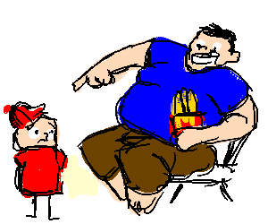 Big man laughs out loud at child.