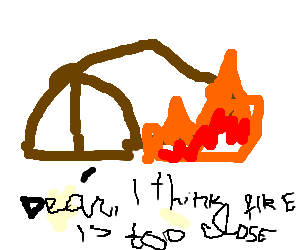 Fire built dangerously close to a tent