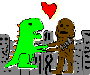 godzilla and chewbacca fall in love